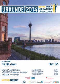 Metro Marathon Düsseldorf 2014 - Firmenstaffel Urkunde The EPE-Team