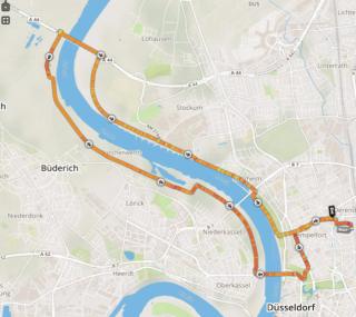 Halbmarathon Übungsstrecke am Rhein
